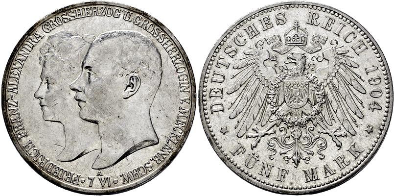 Lot 3947 - SILBERMÜNZEN DES KAISERREICHES, MECKLENBURG-SCHWERIN,GROSSHERZOGTUM  -  Gerhard Hirsch Nachfolger Auktion 337 Münzen und Medaillen - Sammlung Bayern, Sammlung Judaica, u.a.