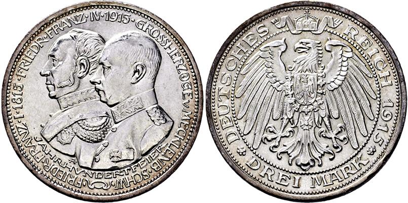 Lot 3948 - SILBERMÜNZEN DES KAISERREICHES, MECKLENBURG-SCHWERIN,GROSSHERZOGTUM  -  Gerhard Hirsch Nachfolger Auktion 337 Münzen und Medaillen - Sammlung Bayern, Sammlung Judaica, u.a.